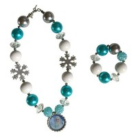 Frozen Inspired Jewelry Elsa & Anna Girls Necklace & Bracelet (Elsa Snowflake/Blue Beads)
