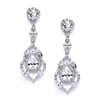 Mariell Luxury CZ Pear Shaped Teardrop Dangle Chandelier Bridal Earrings for Wedding, Bridesmaids & Prom