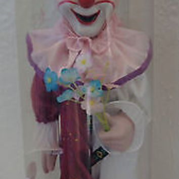 Vintage Porcelain Clown in Purple Pink & Gold with Flowers and Stand