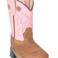 Old West Jama Infant Distressed Brown and Pink Square Toe Western Boots