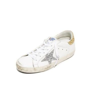 ONETOW GOLDEN GOOSE DELUXE BRAND SUPERSTAR SNEAKERS WHITE SILVER-GOLD GLITTER