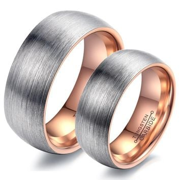 Men Women Couple Rings Tungsten Steel Wedding Engagement Promise Band Rose Gold or Black Color High Quality Never Fade WJ247