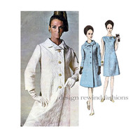 1960s Vogue 1670 Mod COAT & SLEEVELESS DRESS Pattern Galitzine of Italy Designer Vogue Couturier Bust 38 Size 18 Women's Sewing Patterns