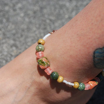 Beaded Anklet in Earth Tones ooak