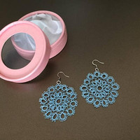 Lace Earrings, Tatting Large Cotton Earrings,  Textile jewellery, Big Round Earring, Boho Chic Jewelry, Filigree Jewelry, Mothers Day Gift