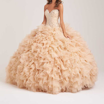 Luxury Champagne Quinceanera Dresses 2016 Sweetheart Pleat Crystal Blue Prom Debutante Gown Sweet 16 Dresses 15 Years Dress
