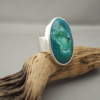 Cocktail Statement Ring handmade from Emerald Sea Green Oval Drusy Agate and Sterling Silver