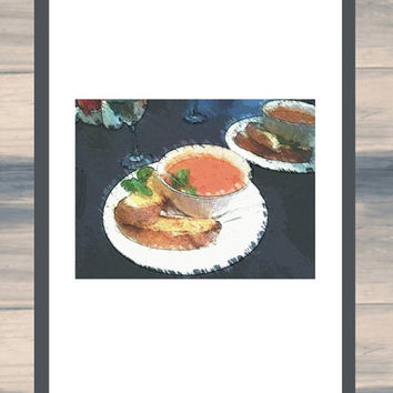 Printable Art / Bowl Of Soup / Art For Your Kitchen Wall / instant food art / tomato soup / wall art / cafe wall art /  kitchen art photo