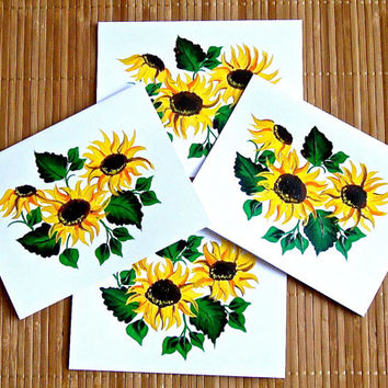 Blank Cards With Sunflowers