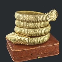 Gold Double Headed Wrap Snake Bracelet