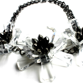 """Flora Trifecta"" Gun Metal Statement Necklace"
