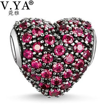 Heart Beads Charms fit Pandora Necklace Bracelet for Women Men Loose Bead Wine Red Cha
