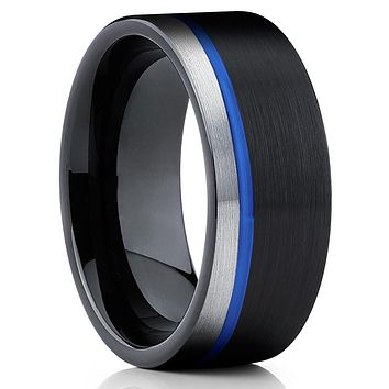 Men's Tungsten Wedding Band - Black Tungsten Ring - Blue Tungsten Ring