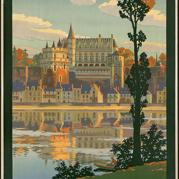 "c.1930s ""Chateau --Fe de Orleans, France French"" Travel Poster- -Antique-Old-Vintage Reproduction Photograph/Photo: Gicclee Print. Frame it!"