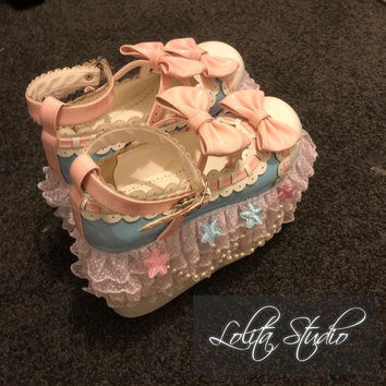 Sweet Classic Lolita Fairy Kei Harajuku Kawaii High Blue Wedge Pink Bows Golden Pearls Chains Stars White Laces Limited Edition Shoes [S3]