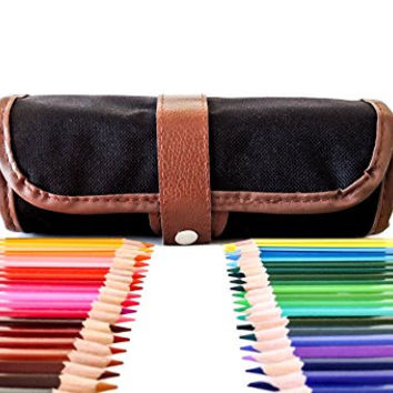 Colored Pencils For Adults With Case - 48 Artist Pencil Kit - Roll Up Canvas Pouch - Art Supplies For Sketching, Drawing, Coloring Books For Kids - Quality Set With Sharpener - Large Variety Of Colors