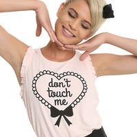 Don't Touch Me Ruffled Pastel Pink Girls Tank Top