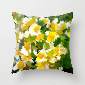 "Throw Pillow with Abstract Yellow and White Print in sizes 16""x 16"", 18""x18"" or 20""X20"", Indoor and Outdoor fabric."