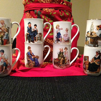 Full Set of Norman Rockwell Collectible Porcelain Mugs-Vintage 1982