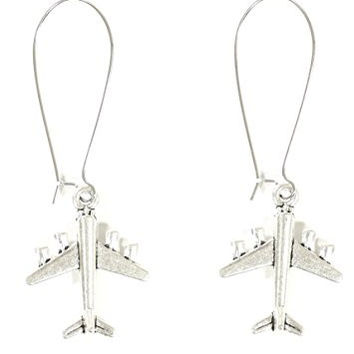 Airplane Dangle Earrings Silver Tone Jet Plane EG25 Fashion Jewelry
