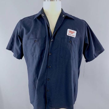 Miller High Life Beer / Delivery Man / Navy Blue XL Short Sleeve / Work Shirt / Beer Patch / Patches