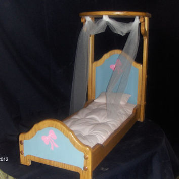 "Doll 1/2 canopy bed for 18"" dolls like american girl"