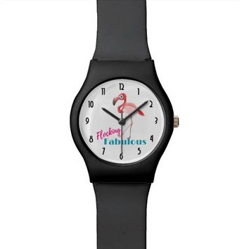 Flocking Fabulous Typography w/ Pink Flamingo Wrist Watch