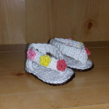 Size 3 (6-9 month) Infant Sandals (white with hand dyed flowers, pink, red, yellow)