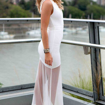 White Sheer Mesh Spliced Maxi Dress