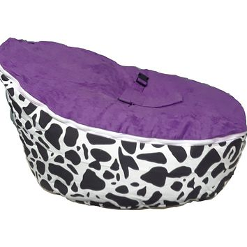 Babybooper Beanbag Soft Baby Cozy Baby Sitting Chair Nursery Pillow Safe (Purple Rain Spotted Cow)
