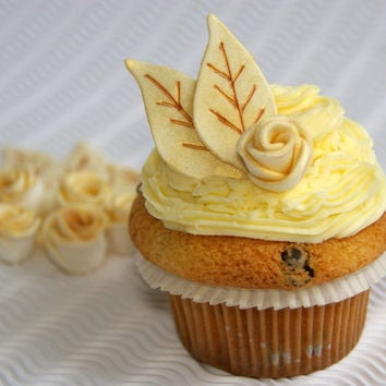 Fondant Vintage Gold Roses Cupcake Toppers 100% Edible, Vintage / Boho Wedding Cupcake Toppers, Gold Sugar Flowers with leaves, 36 pcs
