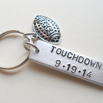 Anniversary Keychain, Football Keychain, Couples Keychain Gift, Customized Keychain, Personalized, Husband Wife, Boyfriend Girlfriend, GPS