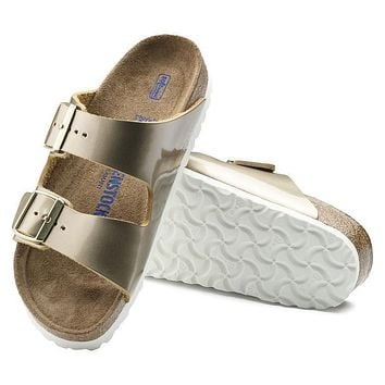 Best Online Sale Birkenstock Arizona Soft Footbed Leather Spectacular Platinum 1011431