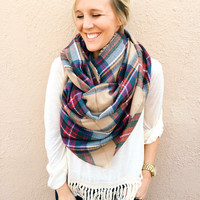 Home for the Holidays Plaid Blanket Scarf