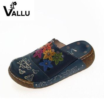 2017 Handmade Women Slippers Genuine Leather Women Shoes Slides Closed Toes Flower Pla