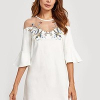 Embroidered White Flared Sleeve Dress