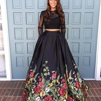 Unique Two Piece Prom Dress Black Floral Long Evening Dress Long Sleeves Formal Dress F2960