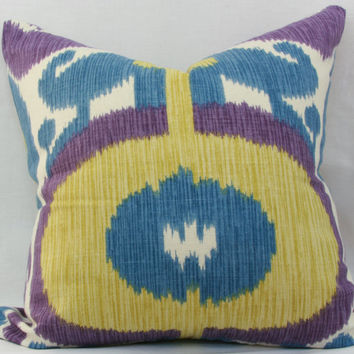 "Blue & purple ikat pillow cover. Braemore Big and Bold ikat iris decorative throw pillow cover. 20"" x 20"" pillow cover."