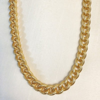 Chunky Chain Necklace 18K Gold Plated Faux Pave Textured Thick Statement Michael Kors Marc Jacobs Celebrity Inspired