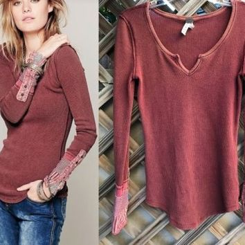 FREE PEOPLE Vintage Kyoto Cuff Henley Thermal Shirt Sz XL