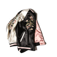 jacket women floral embroidered bomber jacket reversible satin black vintage autumn brand chaquetas mujer women clothing