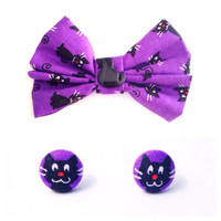 "Handmade ""Spooky Cat"" Purple with Black Cat Print Bow and Matching Cat Fabric Earrings - Choose Set or Individual - Halloween Cat Accessorie"