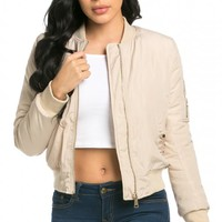 Classic Flight Bomber Jacket in Beige (Plus Sizes Available)