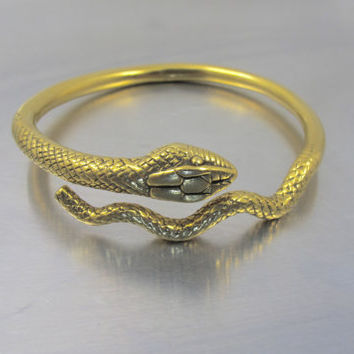 Egyptian Revival Snake Bracelet, Vintage Gold Coiled Snake Bangle, 1970's MMA Metropolitan Museum Of Art Egyptian Snake Jewelry