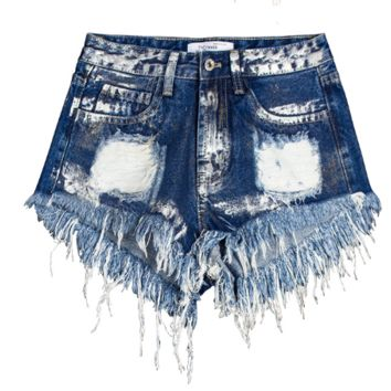 Hot pants  hole jeans, loose paint denim shorts