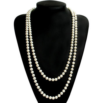 Round Imitation Pearls Necklaces for Women Acrylic Beaded Statement Necklaces 2016 Fashion Faux Pearl Jewelry Long Collier Party