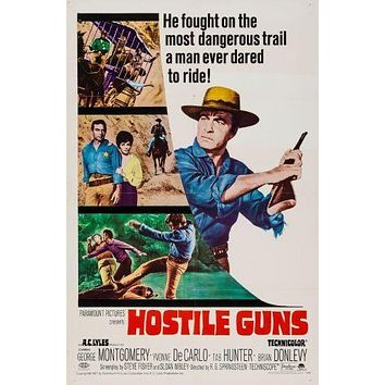Hostile Guns poster Metal Sign Wall Art 8in x 12in