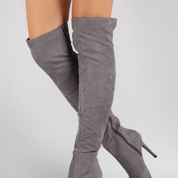 Suede Pointy Toe Stiletto Over-The-Knee from Bella & Chic | boots
