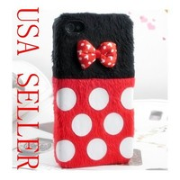 Red Cute Lovely Plush 3D Bow Knot White Spots Minnie Mouse Case for Iphone 4 4G 4S