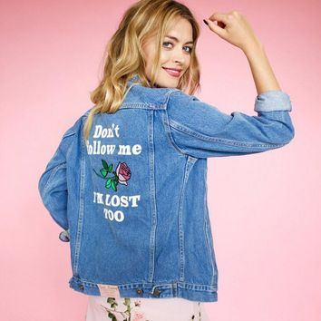 Trendy 2018 spring Autumn Floral Bomber Jacket Women Embroidered Jean Jackets Female plus size 5XL slim Denim Sexy Coat Outerwear w670 AT_94_13
